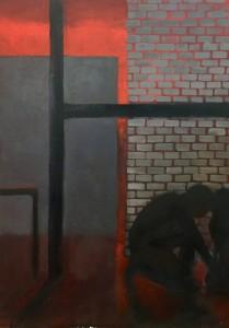 Trzepak polski, olej na płycie, 70x50, 2017
