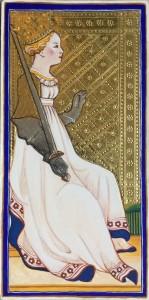 karta tarota Królowa mieczy
