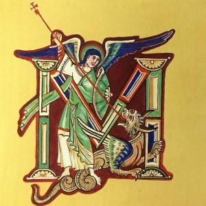 Święty Michał i inicjał M